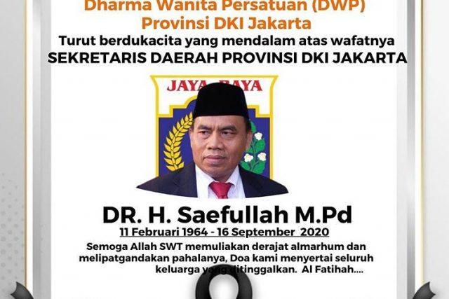 Sekda DKI Jakarta, Saefullah Tutup Usia
